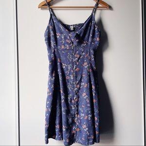 American Eagle blue floral keyhole dress large